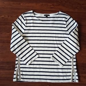 J. Crew black and white striped top with sequins
